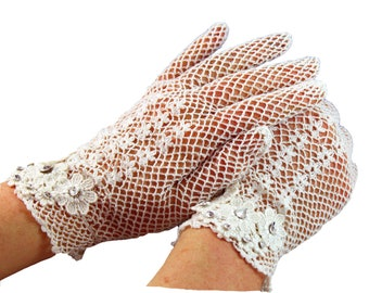 Ivory lace gloves Swarovski crystals  - The Lady Mary