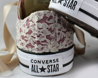 Champagne Maroon Bridal Converses Monochrome  --Lace Converse -- Wedding Tennis shoes  - Wedding Converse