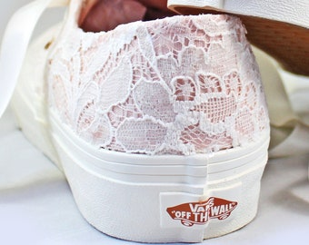 Blush Vans with Ivory Lace - Bridal Vans  --Lace Vans -- Wedding Tennis shoes  - Wedding Vans