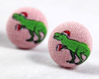 Handmade Fabric Button Christmas T-Rex Dinosaur Earrings - Holiday Theme Earrings -Fabric Covered Button Earrings