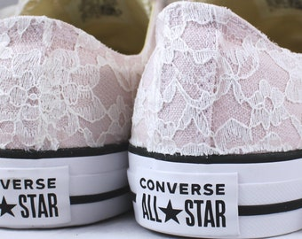 Size 10 Blush Bridal Converses Ready to ship -- Wedding Tennis shoes with Ivory Lace - Wedding Converse