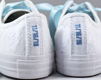Custom Date Lace Bridal Converses  -- White Lace Light Blue Converse -- Wedding Tennis shoes  - Wedding Converse