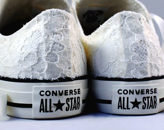 Ready to ship Size 8  Ivory Bridal Converses  -- Ivory Lace Converse -- Wedding Tennis shoes  - Wedding Converse