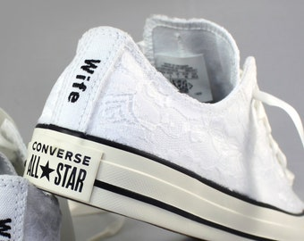 Custom White Lace Bridal Converses  -- Wife Lace Converse -- Wedding Tennis shoes  - Wedding Converse