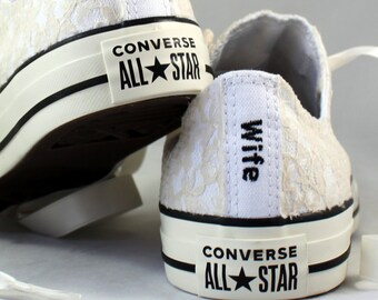 Custom Champagne Lace Bridal Converses  -- Wife Lace Converse -- Wedding Tennis shoes  - Wedding Converse