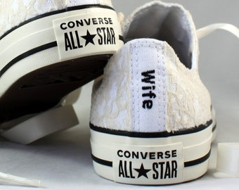 Custom Wife Champagne Lace Bridal Converses  -- Wife Lace Converse -- Wedding Tennis shoes  - Wedding Converse