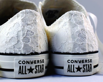 Rush Size 8  Ivory Bridal Converses  -- Ivory Lace Converse -- Wedding Tennis shoes  - Wedding Converse