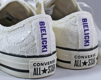 Ivory Name Bridal Converses Egret Ivory Sequin Lace -- Custom Name Converse -- Wedding Tennis shoes - Wedding Converse