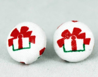 Handmade Fabric Button Christmas Gift  Earrings - Holiday Theme Earrings -Fabric Covered Button Earrings