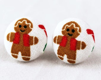 Handmade Fabric Button Christmas Gingerbread Earrings - Holiday Theme Earrings -Fabric Covered Button Earrings