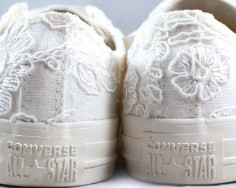 Ivory Bridal Converses Egret Ivory Floral Lace  -- Ivory Converse -- Wedding Tennis shoes  - Wedding Converse