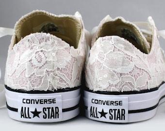 Ready to ship Ivory Lace Blush Wedding Converses  Size 10-- Bridal Converses size 10--  Wedding Tennis shoes  -- Custom Converses