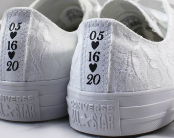 White Lace Wedding Converse Custom Text -White Lace Bridal Converses --Custom Lace Converse -- Wedding Tennis shoes