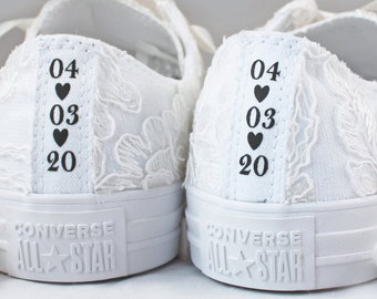 Ivory Floral Lace Wedding Converse Custom Text -Ivory Lace Bridal Converses --Custom Lace Converse -- Wedding Tennis shoes