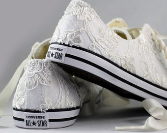 RUSH Ivory Bridal Converses Ready to ship --Lace Converse -- Wedding Tennis shoes  - Wedding Converse