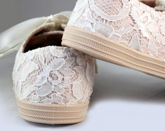 Ready to ship Ivory Lace Wedding Sneakers  Size 7-- Blush Bridal Sneakers size 7--  Wedding Tennis shoes  -- Custom Sneakers