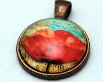 Poppy Copper Blue Necklace  - Copper Glass Copper necklace