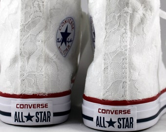 Lace High Top Converses --Bridal Converses -- Wedding Tennis shoes  - Wedding Converse High Top-- Custom Converses