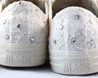 Ivory Bridal Crystal Converses with Ivory Shimmer Lace  -- Ivory Converse -- Wedding Tennis shoes  - Wedding Converse