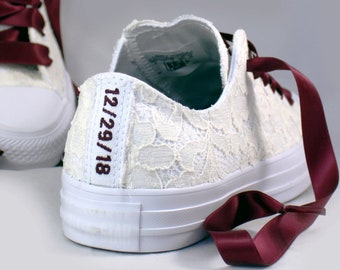 Custom Date Lace Bridal Converses  -- Ivory Lace Wine Converse -- Wedding Tennis shoes  - Wedding Converse