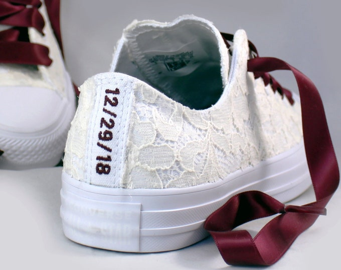 Featured listing image: Custom Date Lace Bridal Converses  -- Ivory Lace Wine Converse -- Wedding Tennis shoes  - Wedding Converse