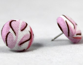 Pink Fern Handmade Fabric Button Earrings -Fabric Covered Button Earrings