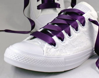 White Lace and Plum Bridal Converses  --Lace Converse  Monochrome-- Wedding Tennis shoes  - Wedding Converse