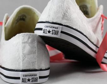 Bridal Converses --Lace Converse -Coral Wedding Tennis shoes  - Wedding Converse