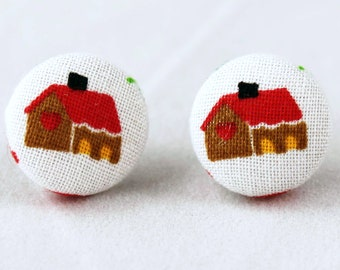 Handmade Fabric Button Christmas Gingerbread House Earrings - Holiday Theme Earrings -Fabric Covered Button Earrings