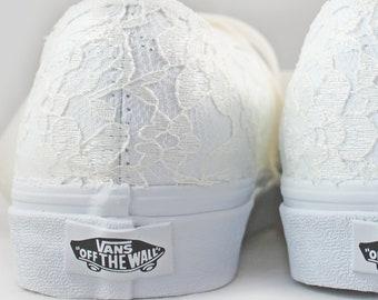 Ivory Lace Bridal Vans  --Lace Vans -- Wedding Tennis shoes  - Wedding Converse