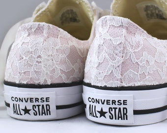Size 10 Ready to ship/RUSH  Blush Bridal Converses with Ivory Lace Converse Limited Color -- Wedding Tennis shoes  - Wedding Converse