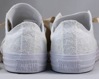 Ivory Bridal Converse --Rachelle Ivory and Champagne Wedding Converse -- Ivory Customized Converse sneakers wedding
