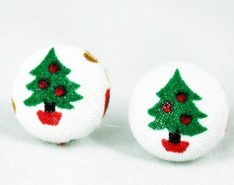 Handmade Fabric Button Christmas Tree Earrings - Holiday Theme Earrings -Fabric Covered Button Earrings