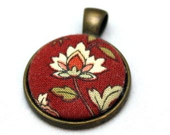 Red Fabric Button Pendant Necklace -Brass necklace