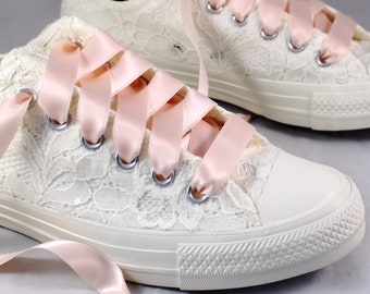 Blush Bridal Converses  -- Ivory Lace Converse -- Wedding Tennis shoes  - Wedding Converse