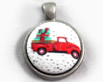Red Christmas Truck Fabric Button Pendant Necklace