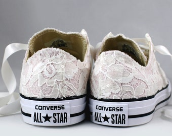 cddd75a136a9 Blush Bridal Converses with Ivory Sequin Lace Converse Limited Edition --  Wedding Tennis shoes - Wedding Converse