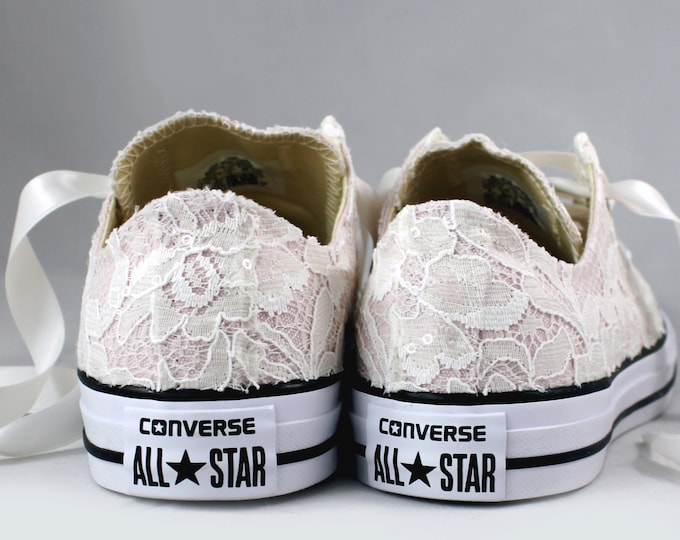 Featured listing image: Blush Bridal Converses with Ivory Lace Converse Limited Edition -- Wedding Tennis shoes  - Wedding Converse
