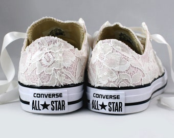 Size 8 Blush Bridal Converses Ready to ship -- Wedding Tennis shoes with Ivory Sequin Lace - Wedding Converse