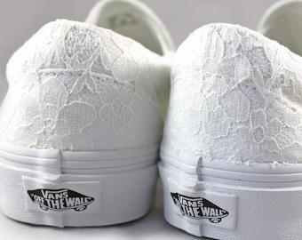 Ivory Lace Bridal Vans Slip On  --Lace Vans -- Wedding Tennis shoes  - Wedding Vans