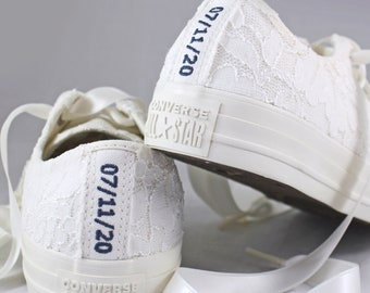 Custom text Ivory Bridal Converses Egret Ivory Shimmer Lace  -- Ivory Converse -- Wedding Tennis shoes  - Wedding Converse