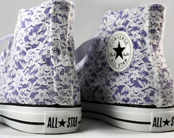 Purple Lace High Top Converses --Purple Bridal Converses -- Wedding Tennis shoes  -Purple Wedding Converse High Top-- Custom Converses