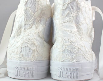 Ivory Lace High Top Converses --Chantilly Bridal Converses -- Wedding Tennis shoes  - Wedding Converse High Top-- Custom Converses