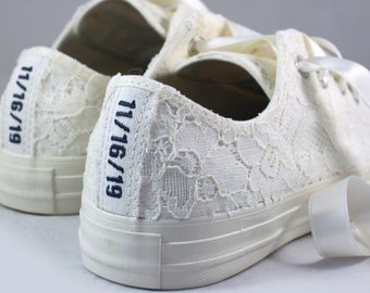Ivory Bridal Converses Egret Ivory Sequin Lace  -- Custom Text Ivory Converse -- Wedding Tennis shoes  - Wedding Converse