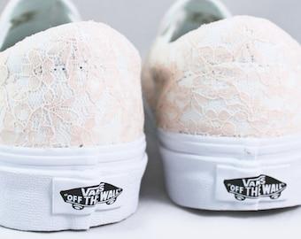Lace Bridal Vans Slip On  -- Champagne Lace Vans -- Wedding Tennis shoes  - Wedding Vans