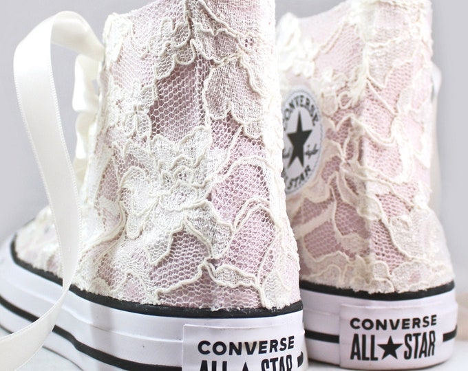 Featured listing image: Blush Bridal Converses Hightops with Chantilly Ivory Lace Converse Limited Edition -- Wedding Tennis shoes  - Wedding Converse