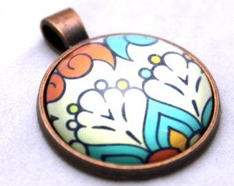 Orange Tulip Necklace  - Copper Glass Copper necklace