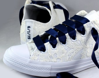 Custom Date Lace Bridal Converses  -- Ivory Lace Navy Converse -- Wedding Tennis shoes  - Wedding Converse