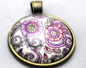 Purple Floral Necklace  -  Glass Brass necklace