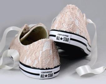 Blush Lace Wedding Converse -Blush Lace Bridal Converses --Floral Blush Lace Converse -- Wedding Tennis shoes